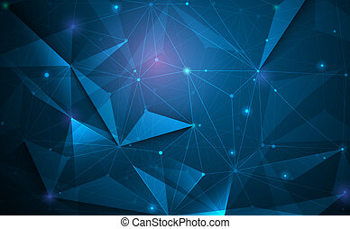 Vector 3D Illustration Geometric, Polygon with molecule structure