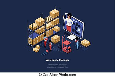 Vector 3D Illustration In Cartoon Isometric Style Of Warehouse Manager And Management Concept. Modern Design Composition Of Storehouse Staff Workers And Leader On Big Computer Screen Giving Orders