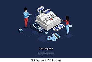 Vector 3D Illustration In Cartoon Style. Isometric Composition On Dark Background. Huge Cash Register Machine With Terminal, Male And Female Characters, Money Banknotes And Coins, Credit Cards Nearby