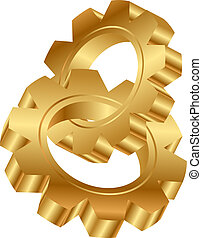 golden cog wheels - Vector 3d illustration of golden cog ...