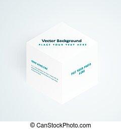 Vector 3d illustration white cube