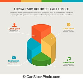 Vector 3d infographics chart for presentation.