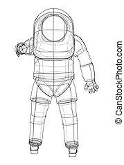 vector, 3d, interpretación, astronauta, concept.