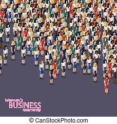 vector, 3d, isométrico, ilustración, de, mujeres, empresa / negocio, community., un