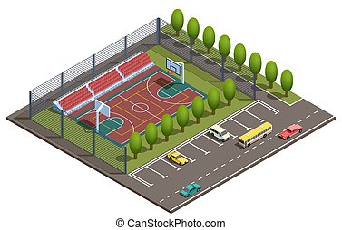 Vector 3d isometric basketball field, car parking