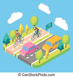 Vector 3d isometric bike route concept illustration
