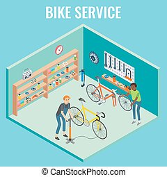 Vector 3d isometric bike service concept illustration
