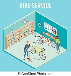 Vector 3d isometric bike service concept illustration