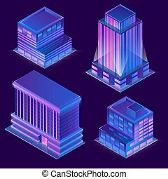 Vector 3d isometric buildings with neon illumination