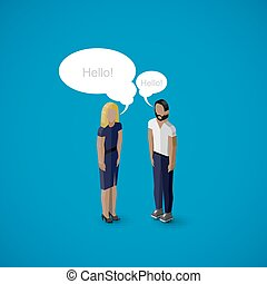 vector 3d isometric cartoon illustration of man and woman...