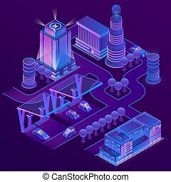 Vector 3d isometric city in ultra violet colors