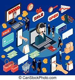 Vector 3D isometric illustration concept of e-commerce, online store.