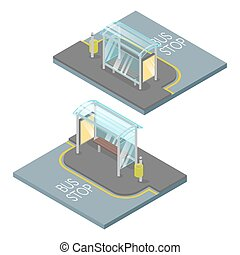 Vector 3d isometric illustration of bus stop.