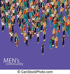 vector 3d isometric illustration of male community with a crowd