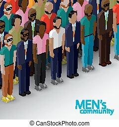 vector 3d isometric illustration of male community with a large