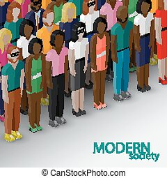 vector 3d isometric  illustration of society members with a larg