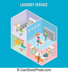 Vector 3d isometric laundry service concept illustration