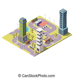 Vector 3d isometric map of city with buildings