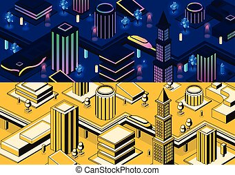 Vector 3d isometric modern cities - different types
