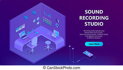 Vector 3d isometric site for sound recording studio