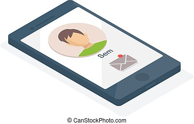 Vector 3d isometric smartphone icon.