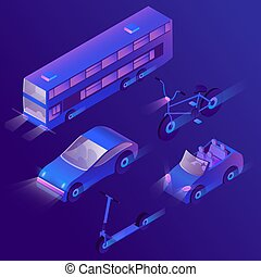 Vector 3d isometric urban passenger transportation