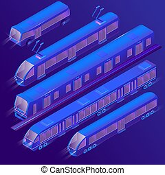 Vector 3d isometric violet tram, trolley, subway