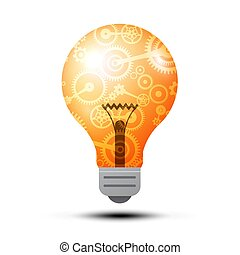 Vector 3D Lit Bulb Symbol with Cogs - Gears