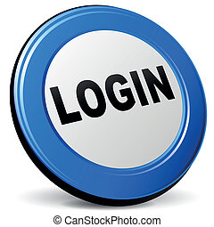 Vector 3d login icon - Vector illustration of login 3d blue ...