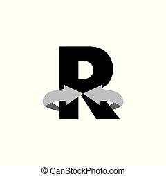 vector, 3d, logo, r, cirkel, pijl, brief