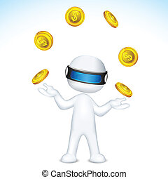 Vector 3d Man Juggling with gold coin