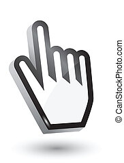 vector, 3d, mano, cursor, símbolo