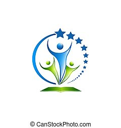 Vector 3d men, human, people logo of 4. Meeting, family, all together union concept
