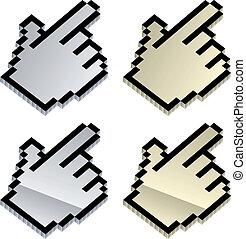 vector, 3d, metálico, cursores