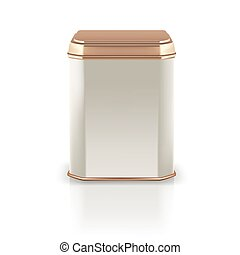 Vector 3d mockup. Silver square empty tin packaging with golden