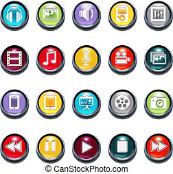 Vector 3d Multimedia Bevel Icons