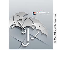 Vector 3d paper umbrella modern design