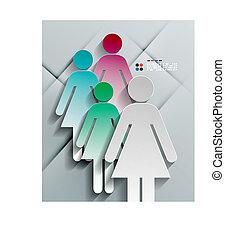 Vector 3d paper woman modern design