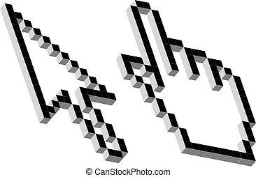 vector, 3d, pixel, cursores