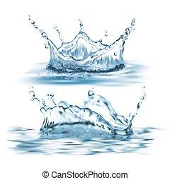 vector, 3d, realista, conjunto, con, agua azul, salpicaduras