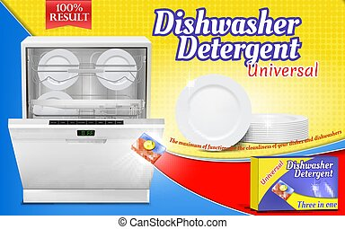 Vector 3d realistic advertising poster with dishwashing detergent
