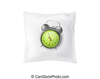 Vector 3d realistic alarm clock on white soft pillow. Sleeping concept isolated on background. Feather cushion for relaxation.