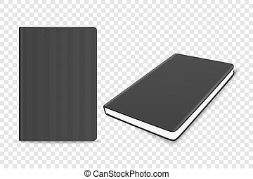 Vector 3d Realistic Black Closed Blank Paper Notebook Set Isolated on Transparent Background. Design Template of Copybook, Diary for Mockup, Advertise, Logo Print. Front, Top View
