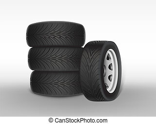 Vector 3d realistic black tyre with tread
