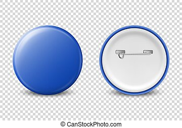 Vector 3d Realistic Blue Metal, Plastic Blank Button Badge Icon Set Isolated on Transparent Background. Front and Back Side View. Template for Branding Identity, Logo, Presentations. Mock-up