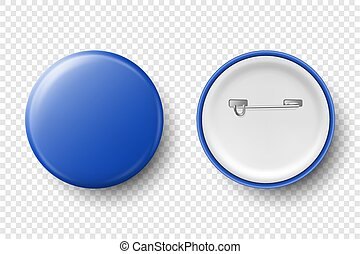 Vector 3d Realistic Blue Metal, Plastic Blank Button Badge Icon Set Isolated on Transparent Background. Top View - Front and Back Side. Template for Branding Identity, Logo, Presentations. Mock-up