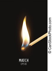 Vector 3d realistic burning match stick icon closeup on dark background. Symbol of ignition, burning and withering. Design template, clipart for graphics