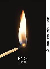 Vector 3d realistic burning match stick icon closeup on dark...