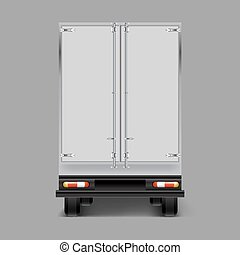 Vector 3d realistic cargo truck back view