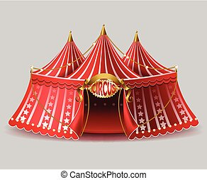 Vector 3d realistic circus tent with signboard
